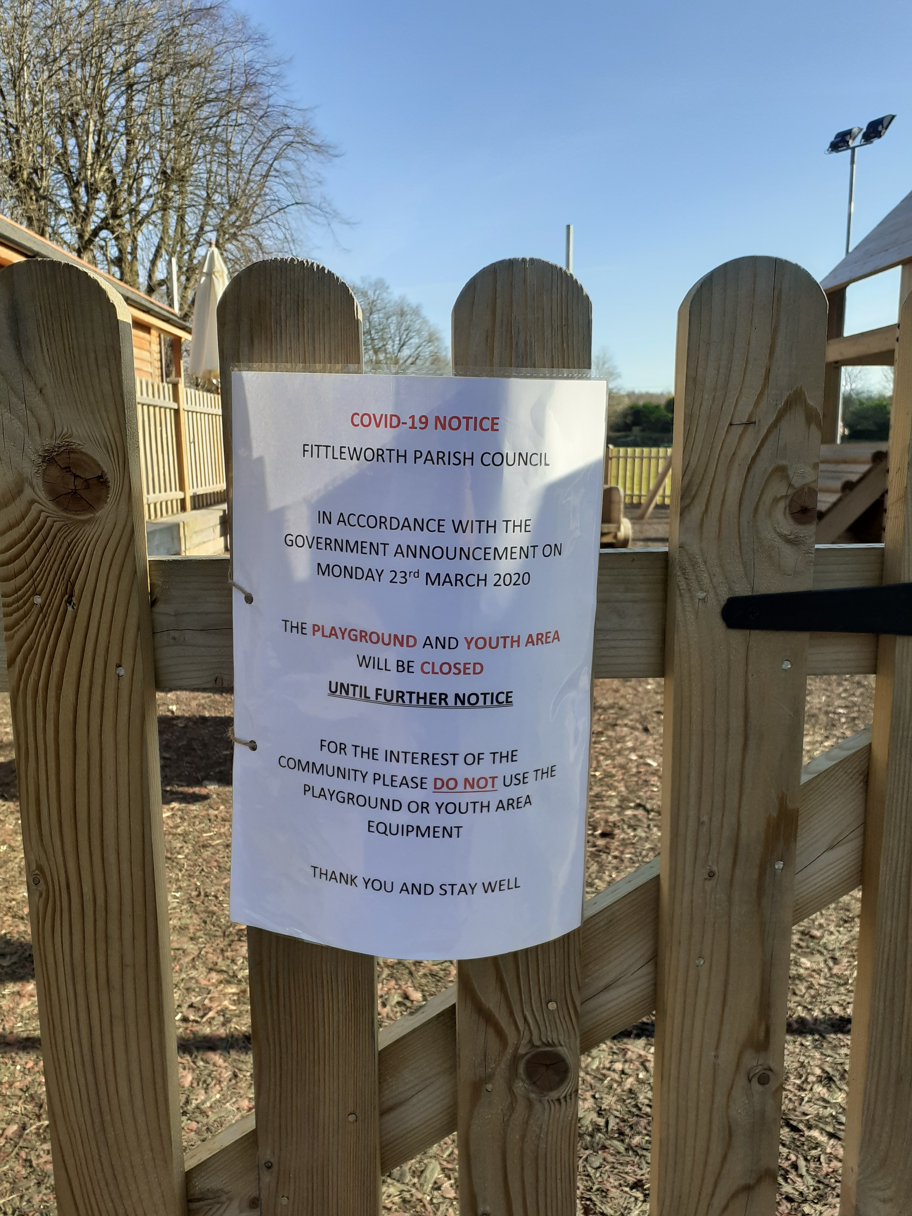 COVID 19 UPDATE – PLAYGROUND AND YOUTH AREA CLOSED UNTIL FURTHER NOTICE