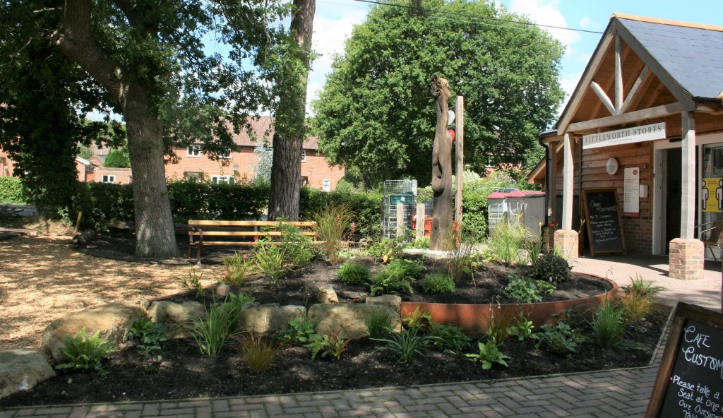 Close-up photo of Fittleworth Stores new sculpture and garden