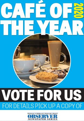 A poster to get people to vote for Fittleworth Stores as Cafe of the year 2020