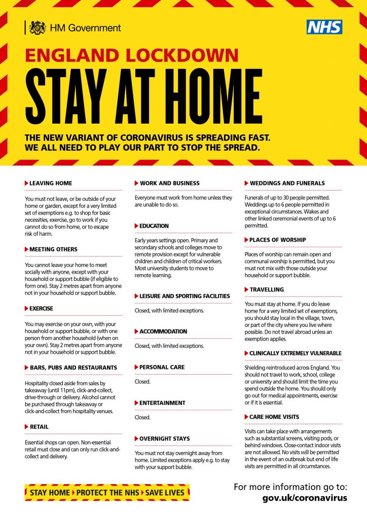 A poster telling people they must Stay at Home as we are in Lockdown