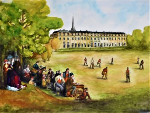 A painting of a Vitorian Cricket match in Petworth Park