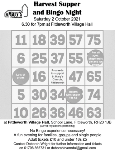 Notice about a Harvest Supper and Bingo night